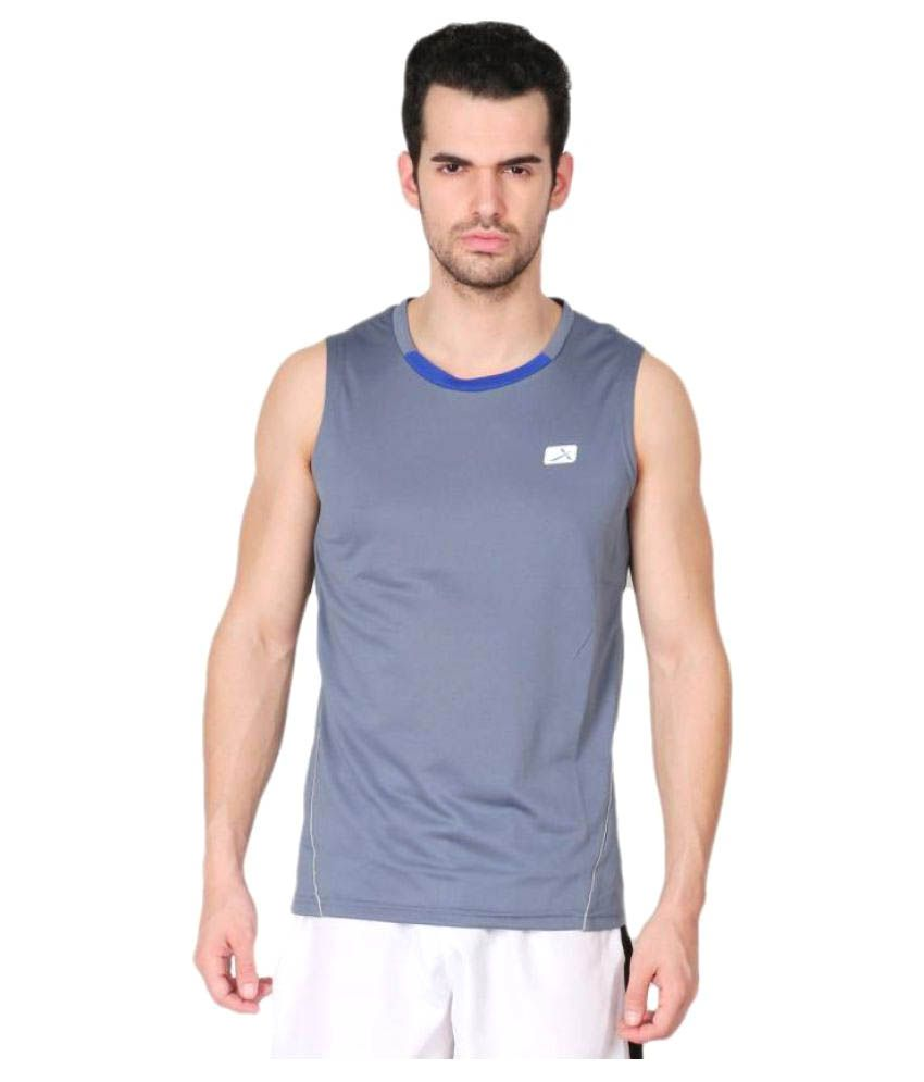 Vector X Grey Solid Men's Round Neck T-Shirt