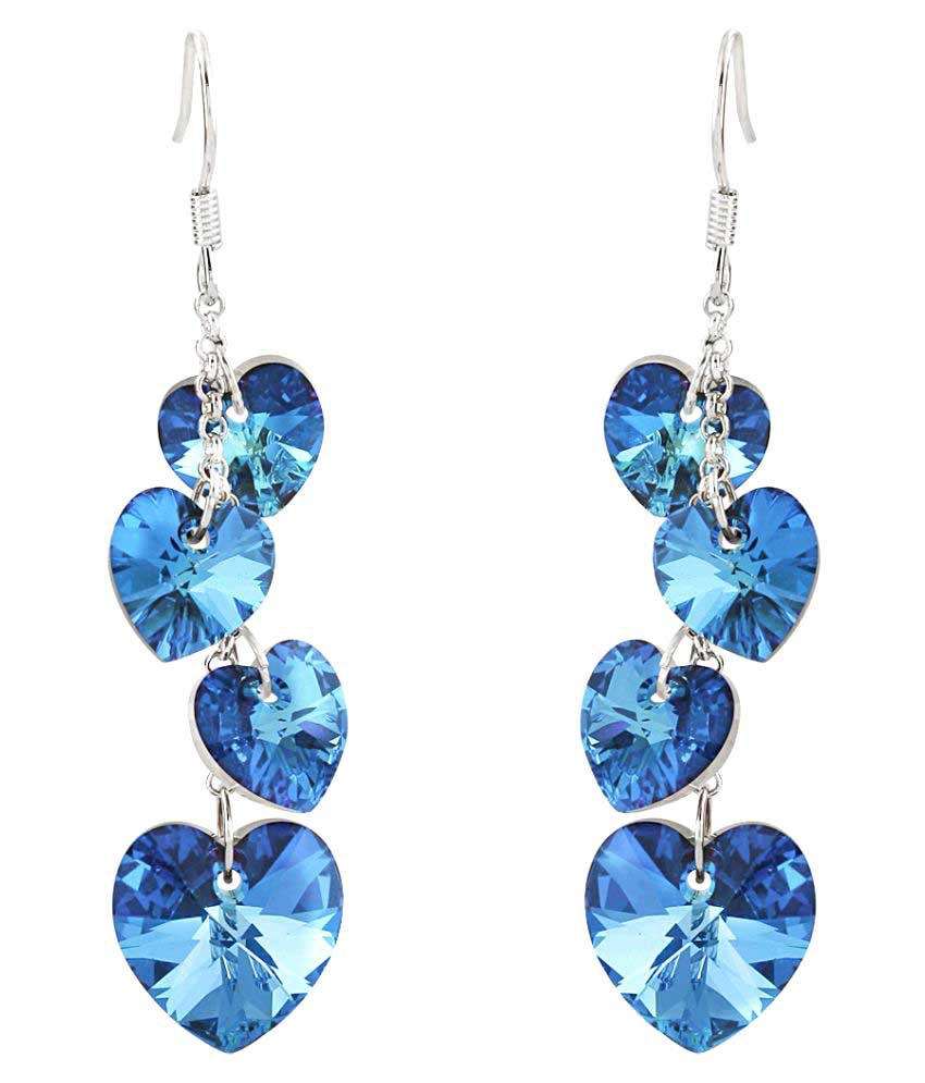 Jewels Galaxy Exclusive Heart Shaped Long Fashion Swarovski Crystals Hangings Earrings for Women And Girls (Blue)