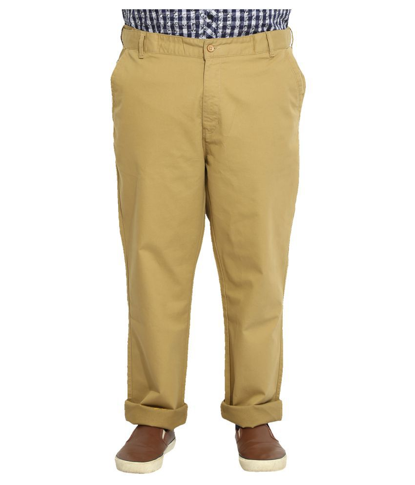 John Pride Khaki Slim Flat Trousers