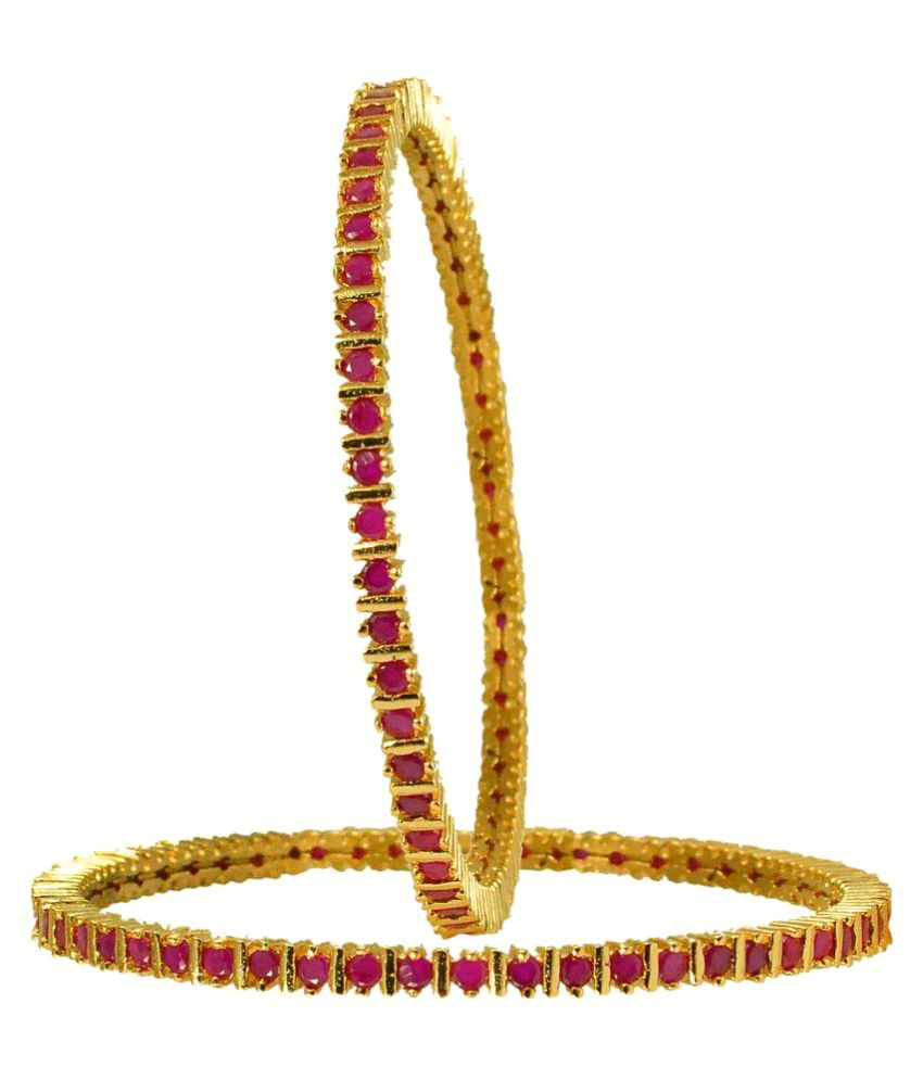 Maalyaa American Diamond Stone Pair of Bangles for Girls and Womens size:2.8