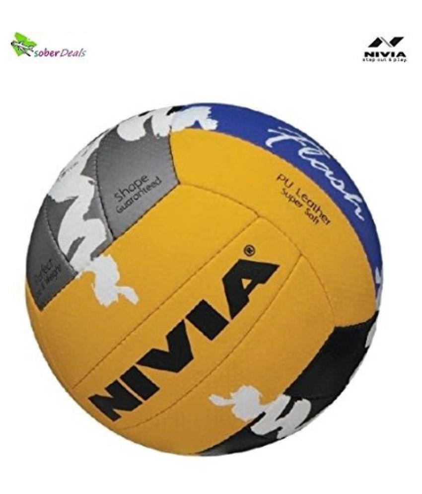 Nivia Flash Volleyball - Size: 4 (Blue, Yellow, White)