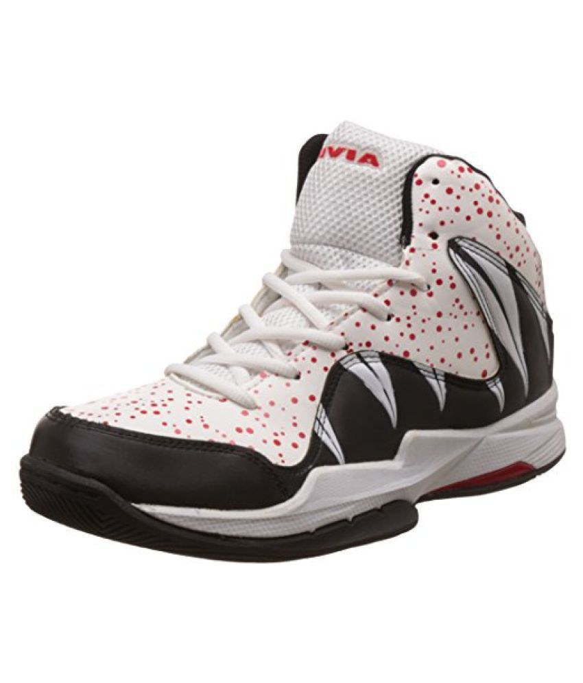 Nivia Heat Basketball Shoes, UK 8 (White/Red)
