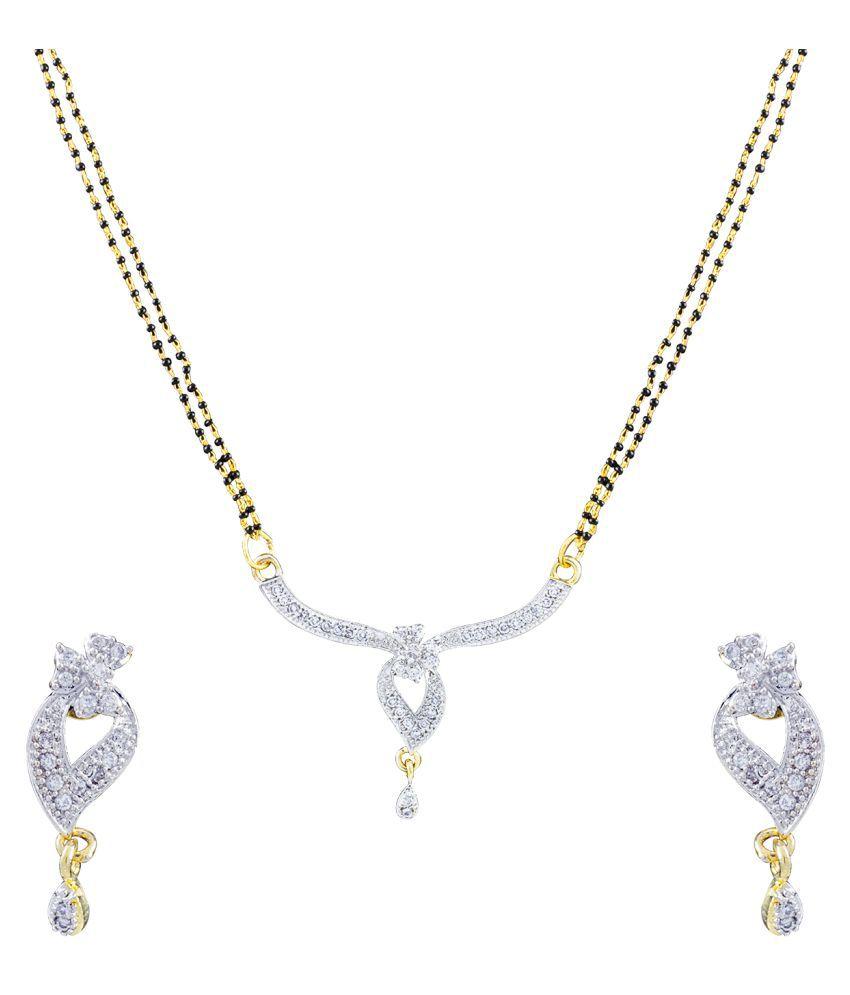 Treshine Stlye Diva 24 KT Gold Plated And Rhodium Mangalsutra Set