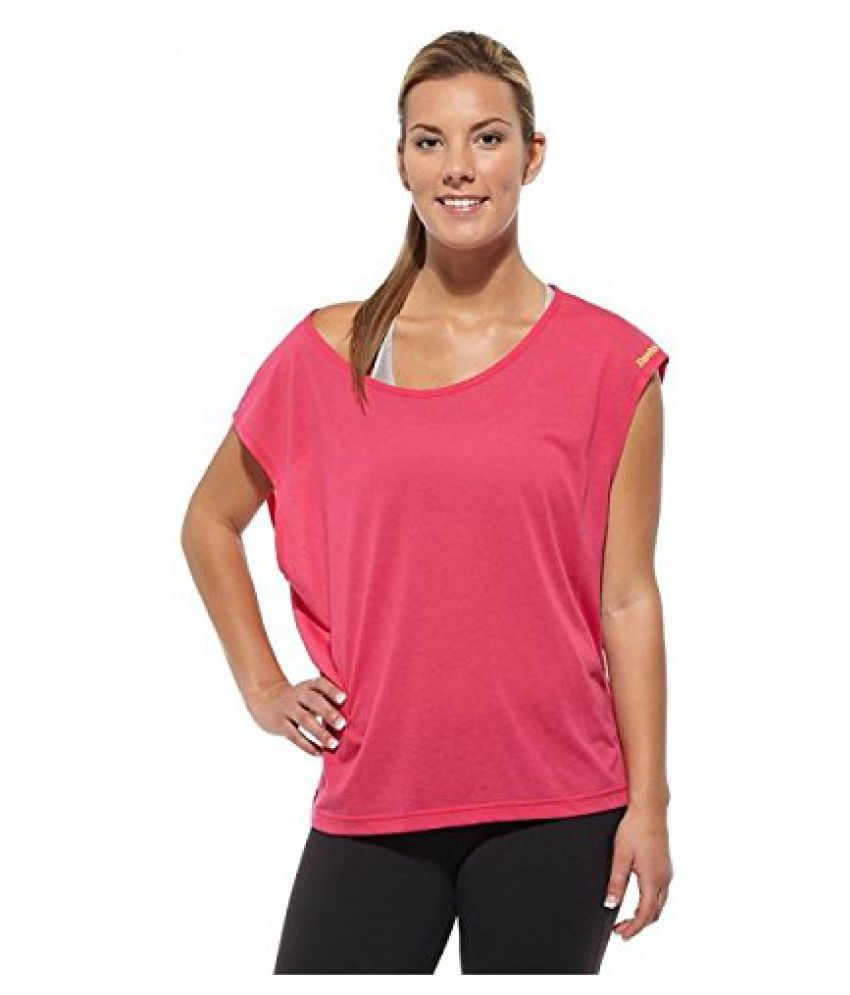 Reebok Own Beat Convertible Womens Training Fitness Tee Pink (Medium)