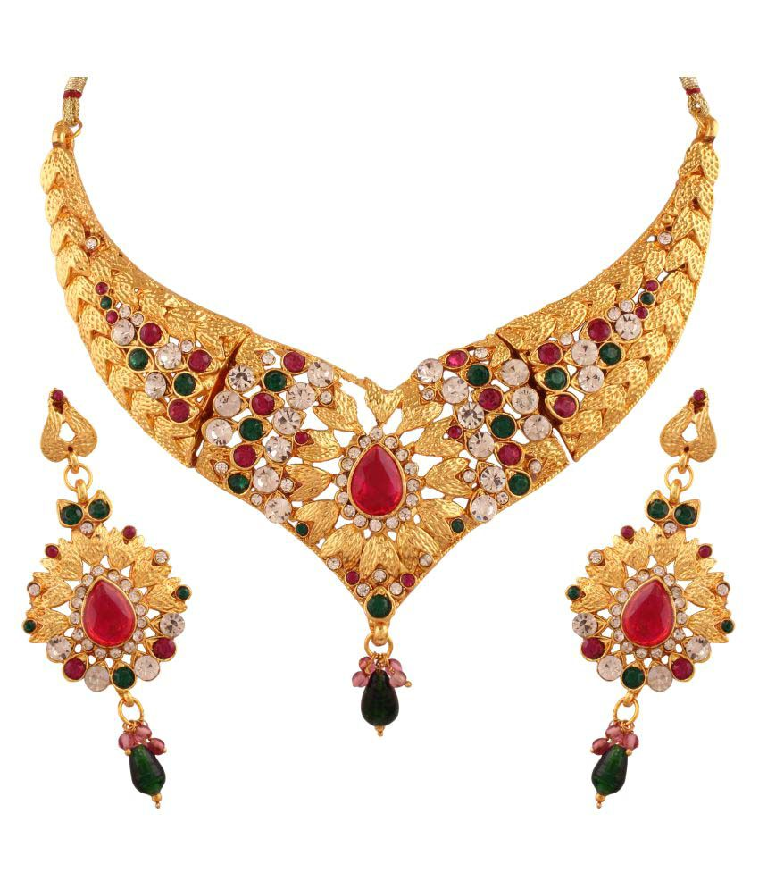 Utsavi's Golden Alloy Necklace set for Women