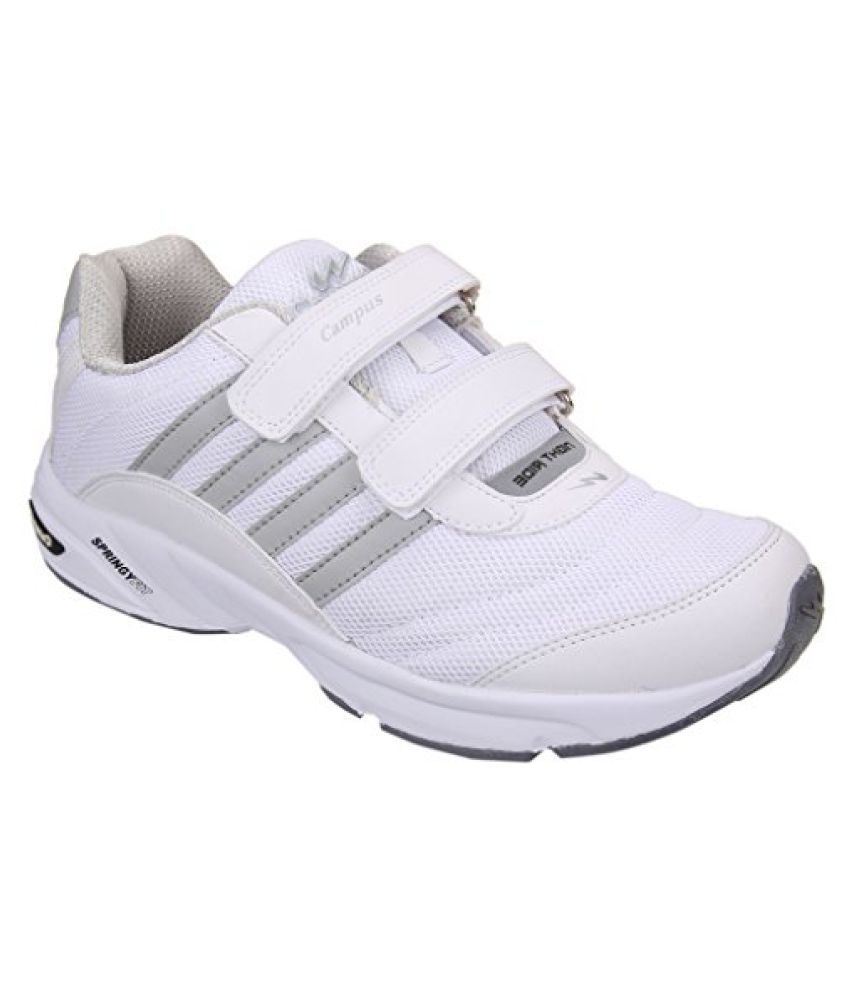 Action Campus Men's White Lght Grey Synthetic and Nylon Mesh Sports Shoes