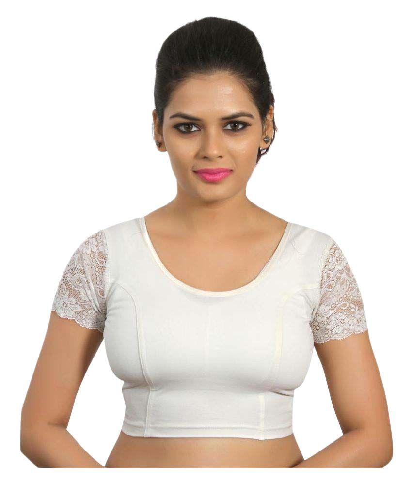 Atulya Designer Blouse White Round Shape Back Blouse