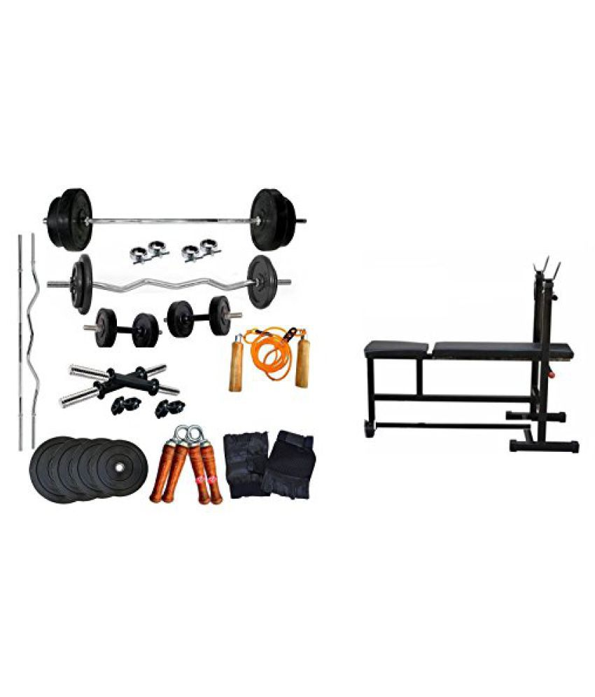 Aurion 30 kg home gym Set with 3 in 1 bench (incline/decline/flat bench) 14 Inch Dumbbell rods + Accessories