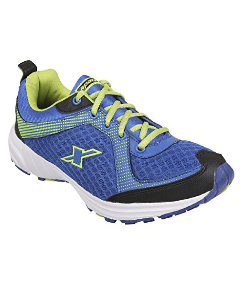 Sparx Men's SM0213 Series Royal Blue Fluorescent Green Synthetic and Nylon Mesh Sports Shoes