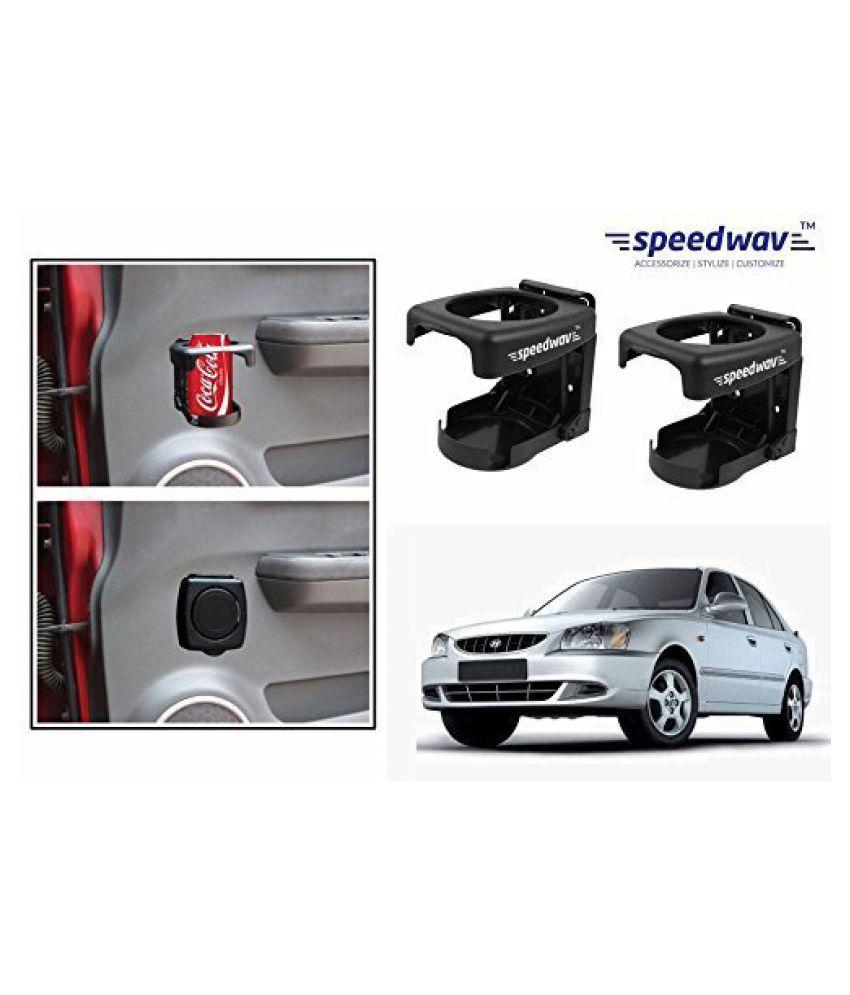 Speedwav Foldable Car Drink/Can/Bottle Holder Set Of 2 BLACK-Hyundai Accent