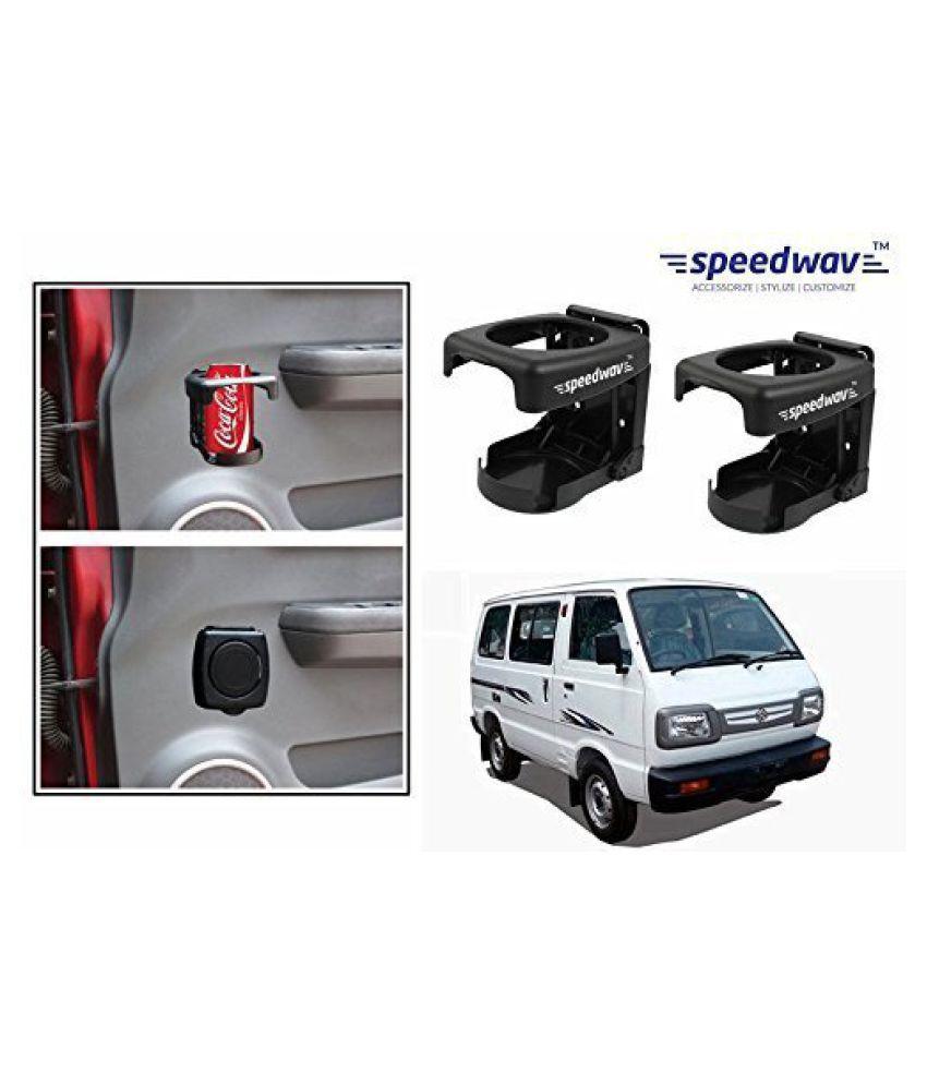 Speedwav Foldable Car Drink/Can/Bottle Holder Set Of 2 BLACK-Maruti Omni