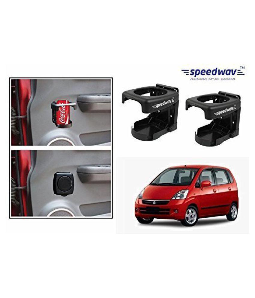 Speedwav Foldable Car Drink/Can/Bottle Holder Set Of 2 BLACK-Maruti Zen Estilo