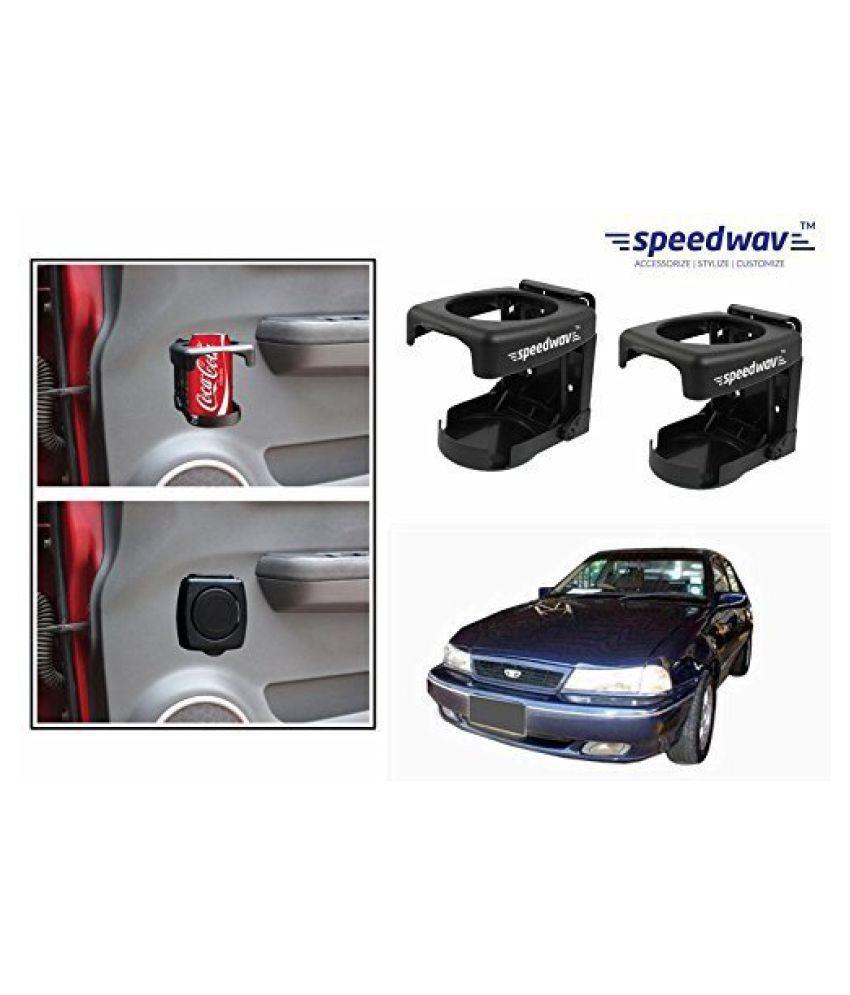 Speedwav Foldable Car Drink/Can/Bottle Holder Set Of 2 BLACK-Daewoo Cello