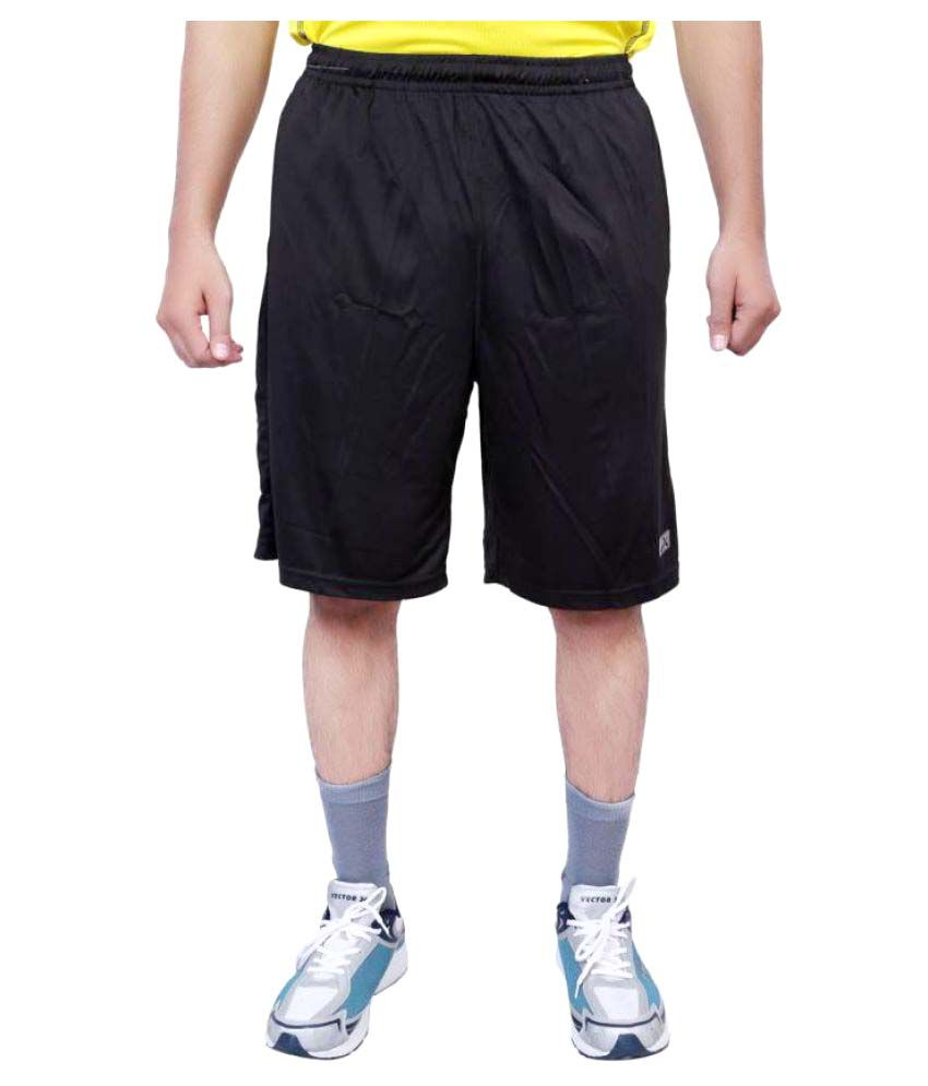 Vector X Solid Men's Black Sports Shorts