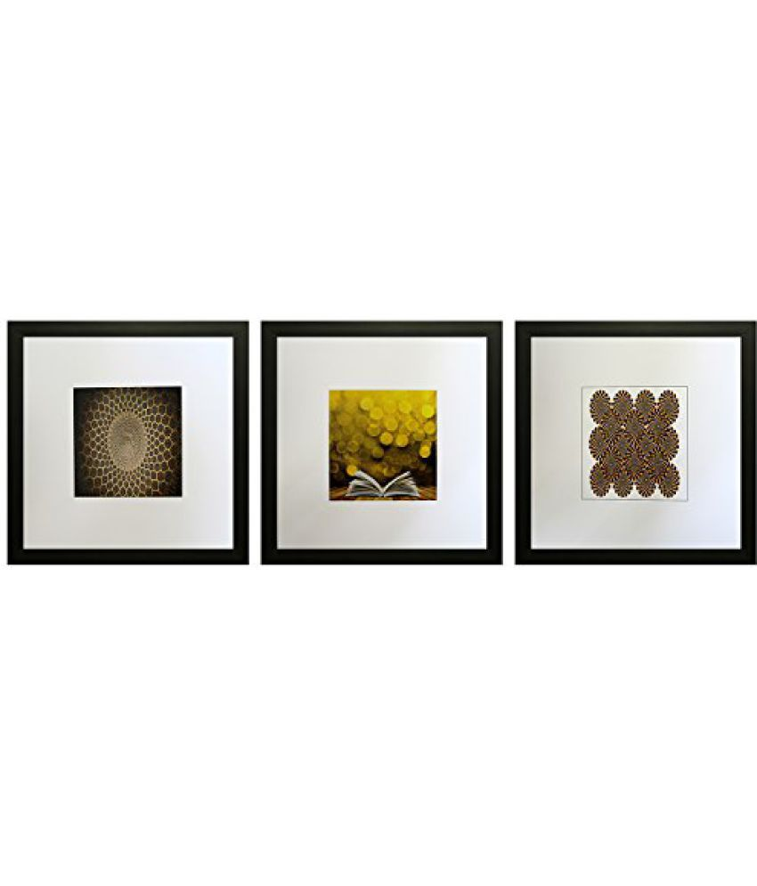 SAF Set Of 3 Textured Print With Uv Framed Reprint Painting (SANFO777, 25 cm x 3 cm x 25 cm)