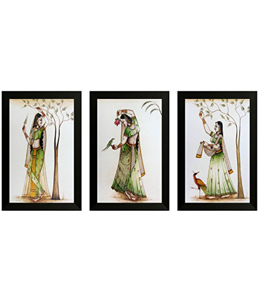 SAF Set Of 3 Traditional Art Painting (SANFO829, 20 cm x 3 cm x 30 cm)