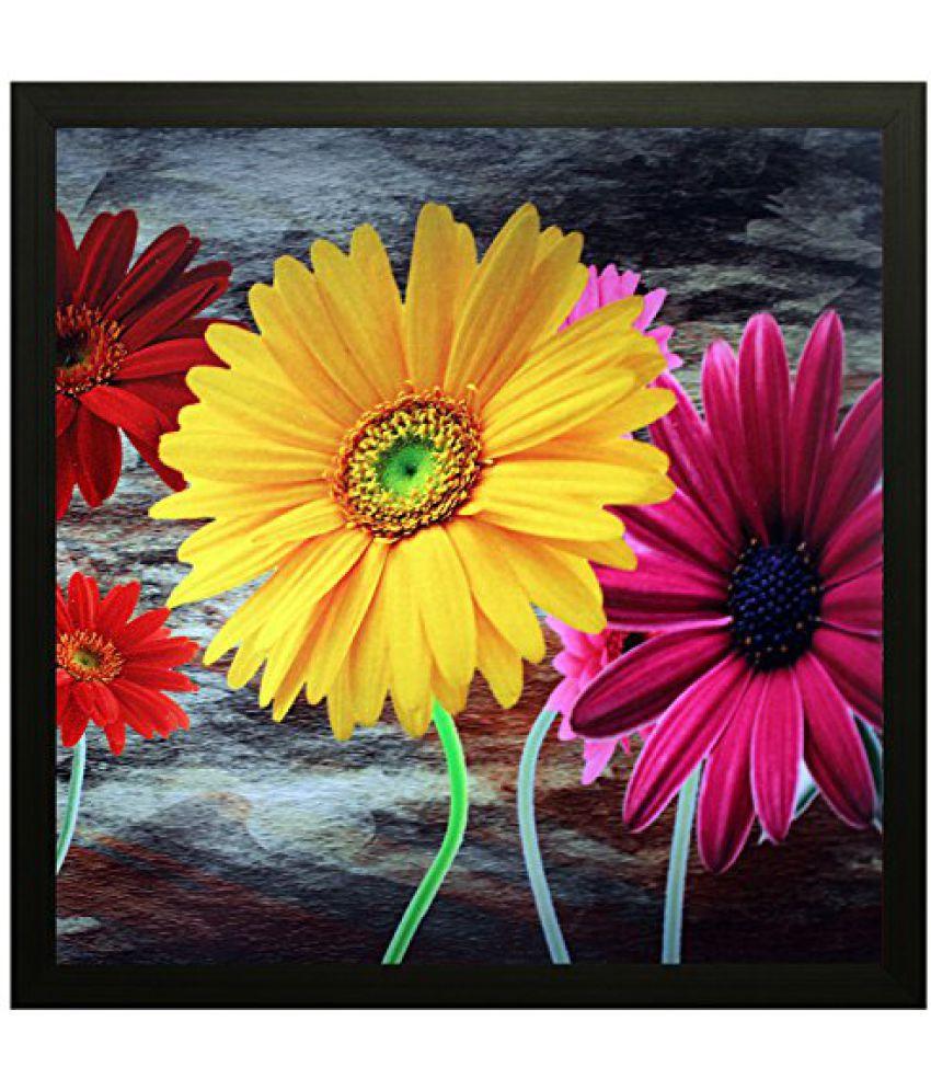 SAF Special Effect Textured Floral Painting (SANFO70, 25 cm x 3 cm x 25 cm)