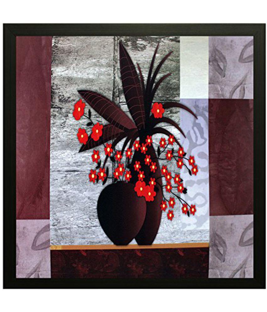 SAF Special Effect Textured Floral Painting (SANFO85, 30 cm x 3 cm x 30 cm)