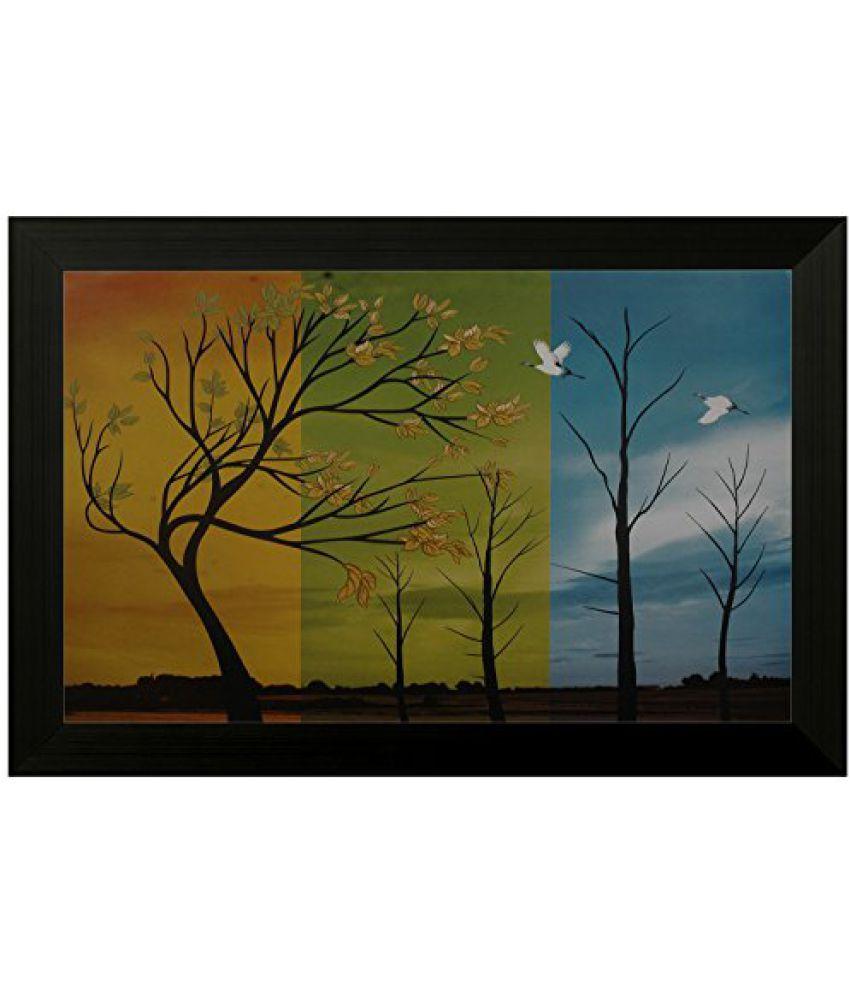 SAF Special Effect Textured Floral Painting (SANFO133, 30 cm x 3 cm x 45 cm)