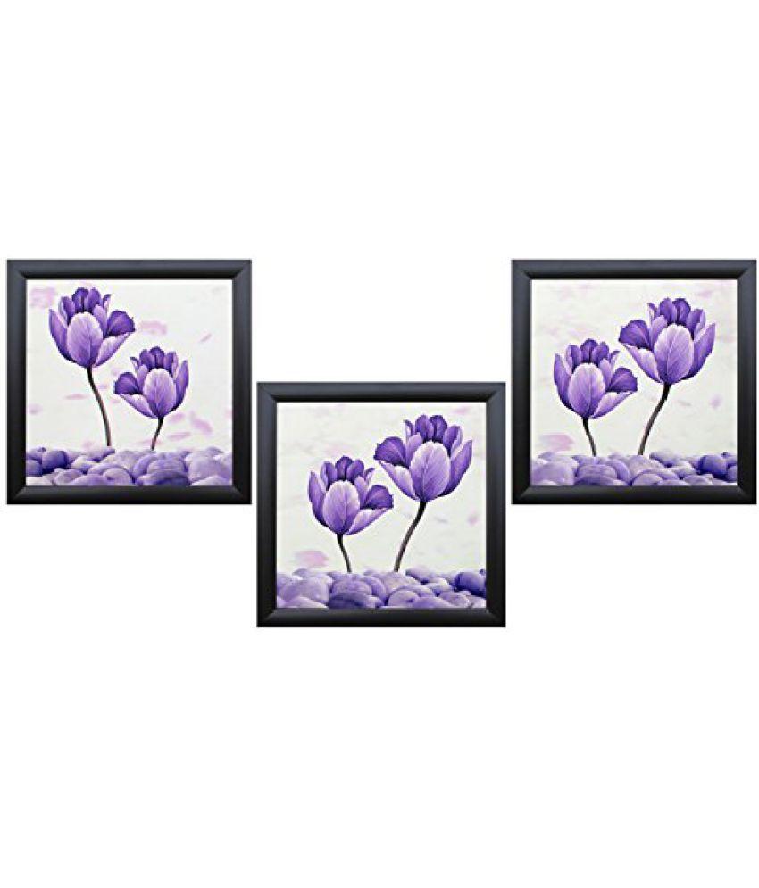 SAF Special Effect Textured Floral with UV Print Painting (SANFO295, 20 cm x 3 cm x 20 cm)