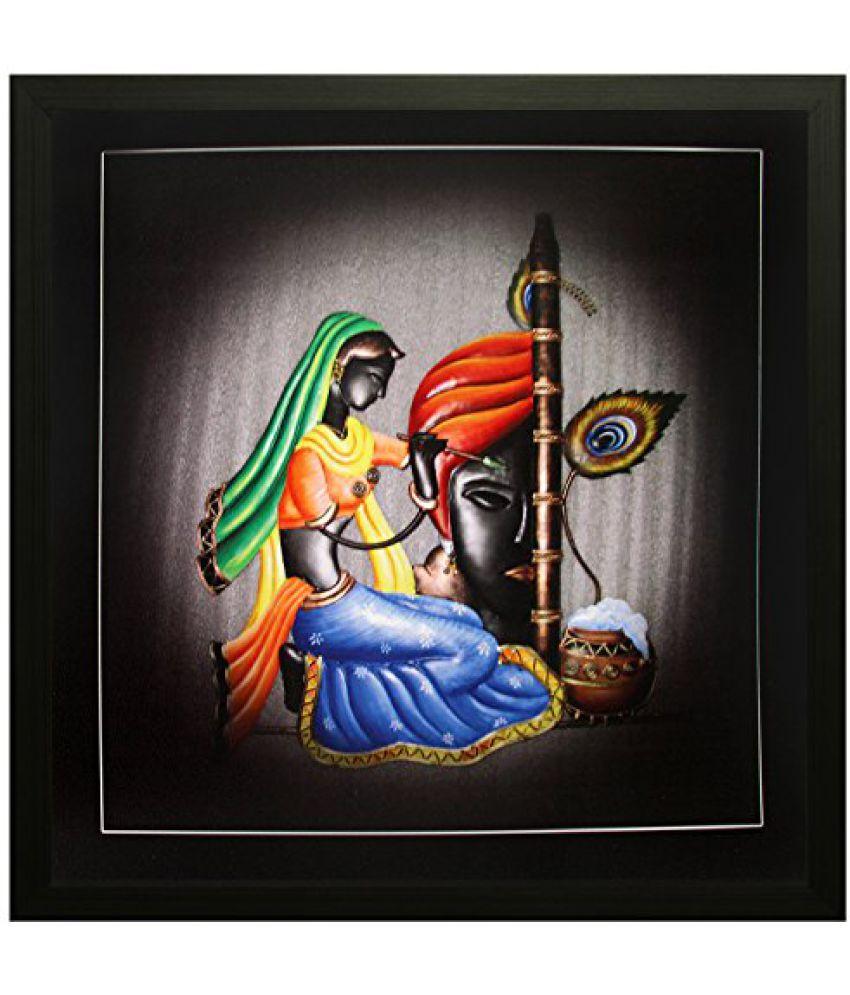 SAF Special Effect Textured Radhey Krishna Ji Painting (SANFO92, 30 cm x 3 cm x 30 cm)