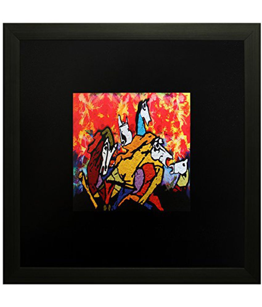 SAF Textured Print with UV Framed Reprint Painting (SANFO622, 25 cm x 3 cm x 25 cm)