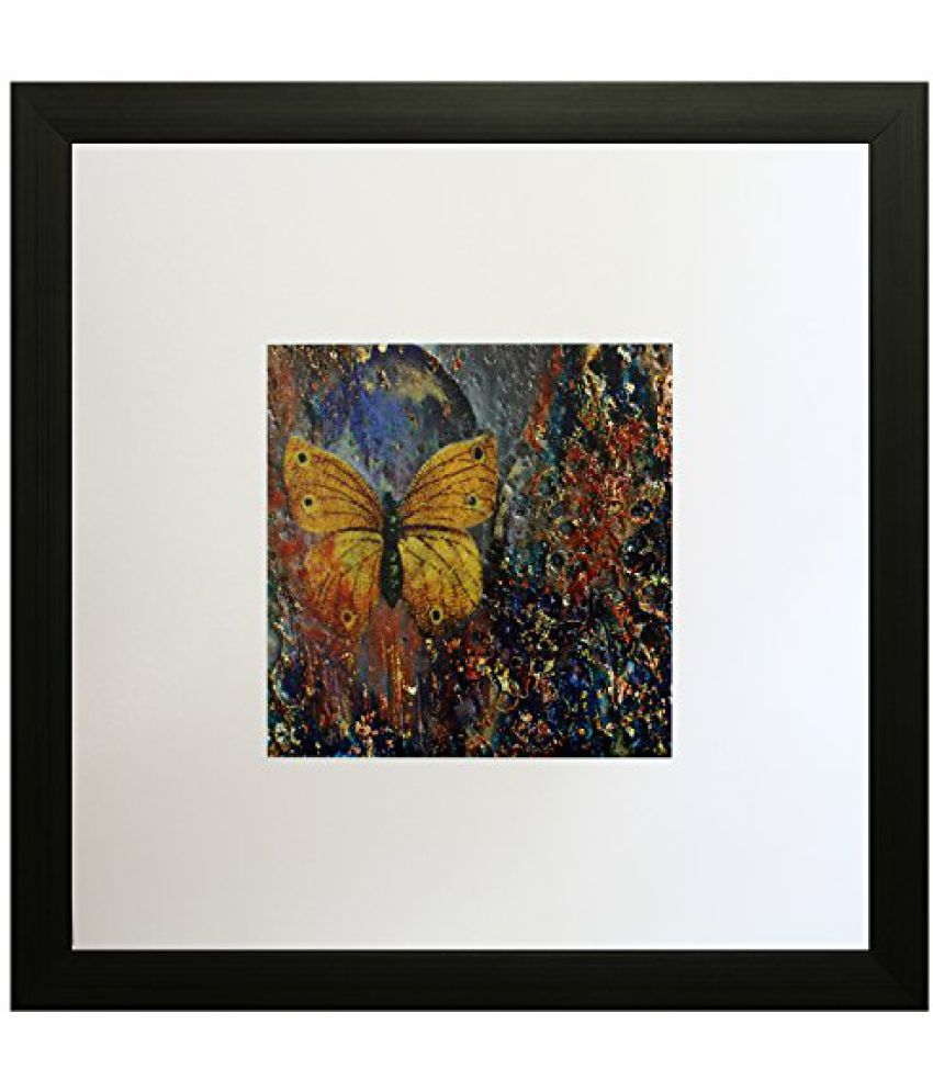 SAF Textured Print with UV Framed Reprint Painting (SANFO614, 25 cm x 3 cm x 25 cm)