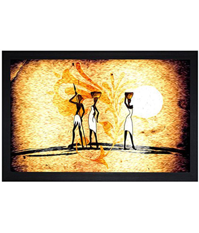 SAF Textured Print with UV Framed Reprint Painting (SANFO753, 30 cm x 3 cm x 45 cm)