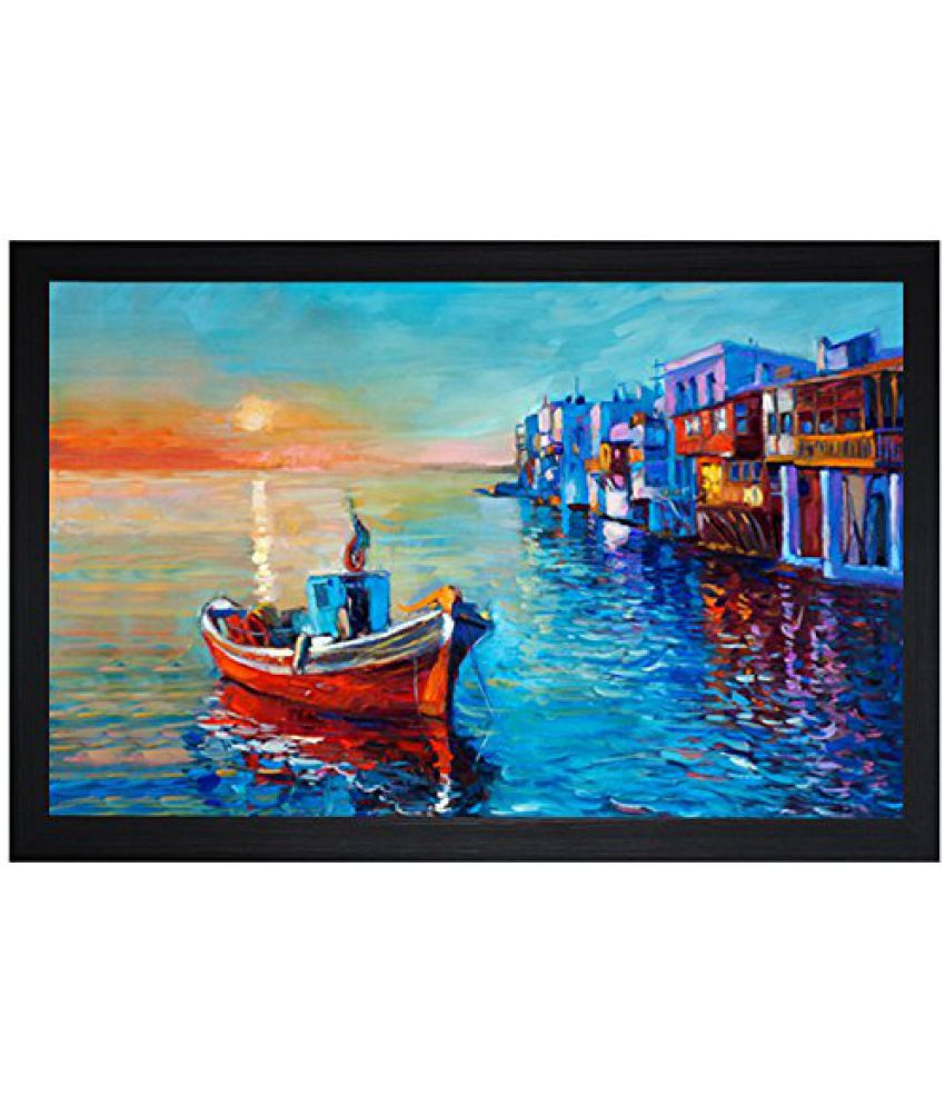 SAF Textured Print with UV Framed Reprint Painting (SANFO743, 30 cm x 3 cm x 45 cm)