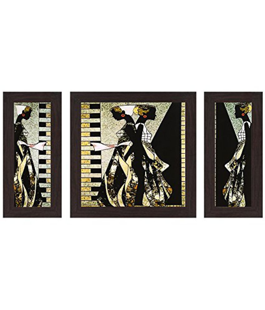 Wens Awesome Ladies MDF Wall Painting (14.5 cm x 29 cm x 1 cm, Set of 3)
