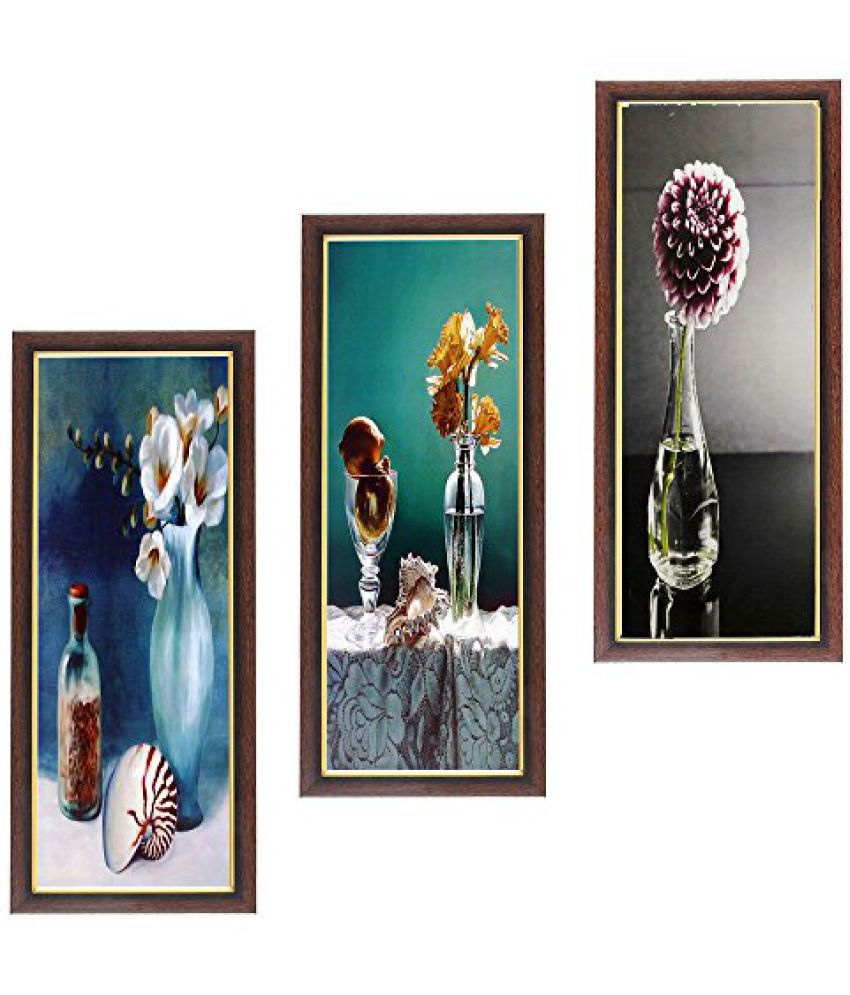 Wens Botanical MDF Wall Art (28 cm x 13.5 cm x 1 cm, Set of 3)