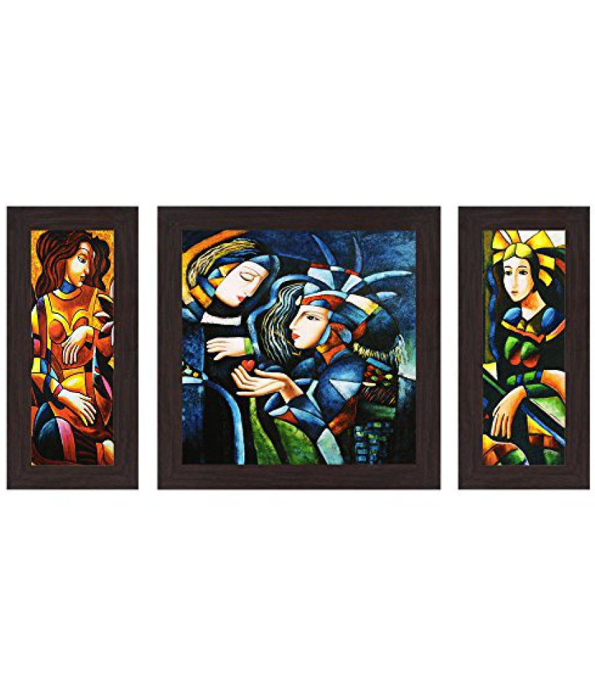 Wens Exclusive Portrait MDF Wall Art (14.5 cm x 29 cm x 1 cm, Set of 3)
