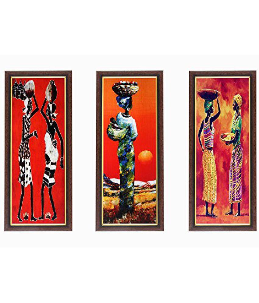 Wens Ladies MDF Wall Art (28 cm x 13.5 cm x 1 cm, Set of 3)