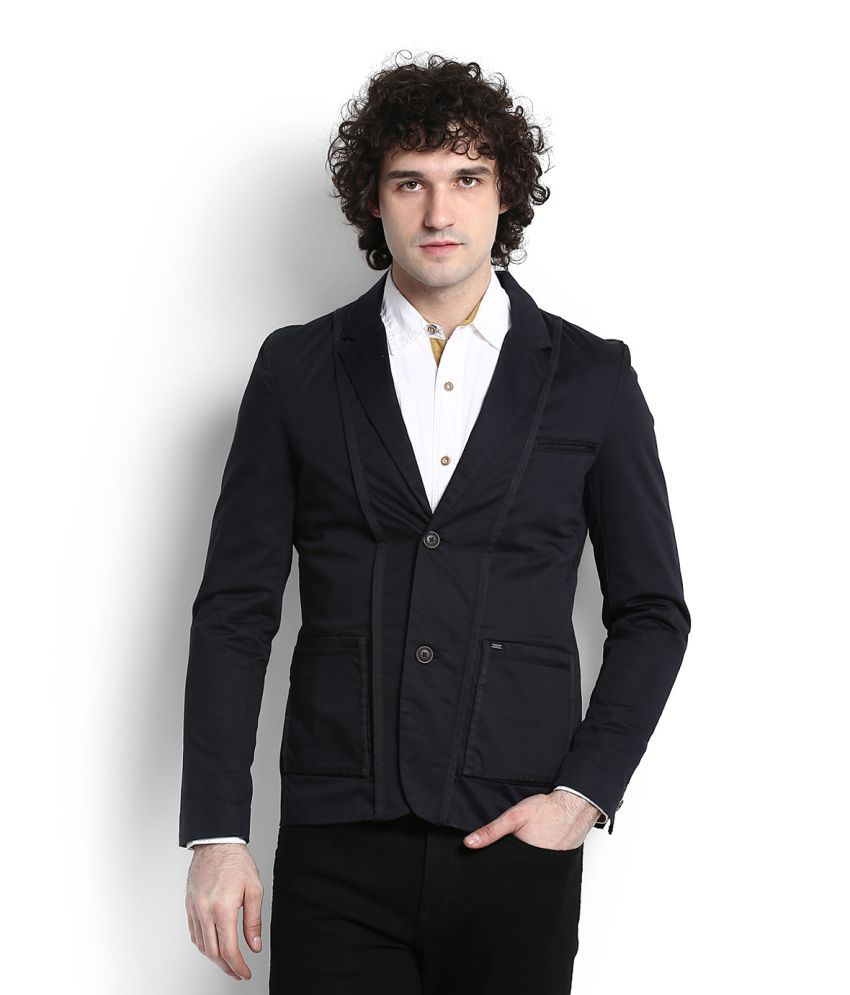 Lee Blue Solid Casual Blazers