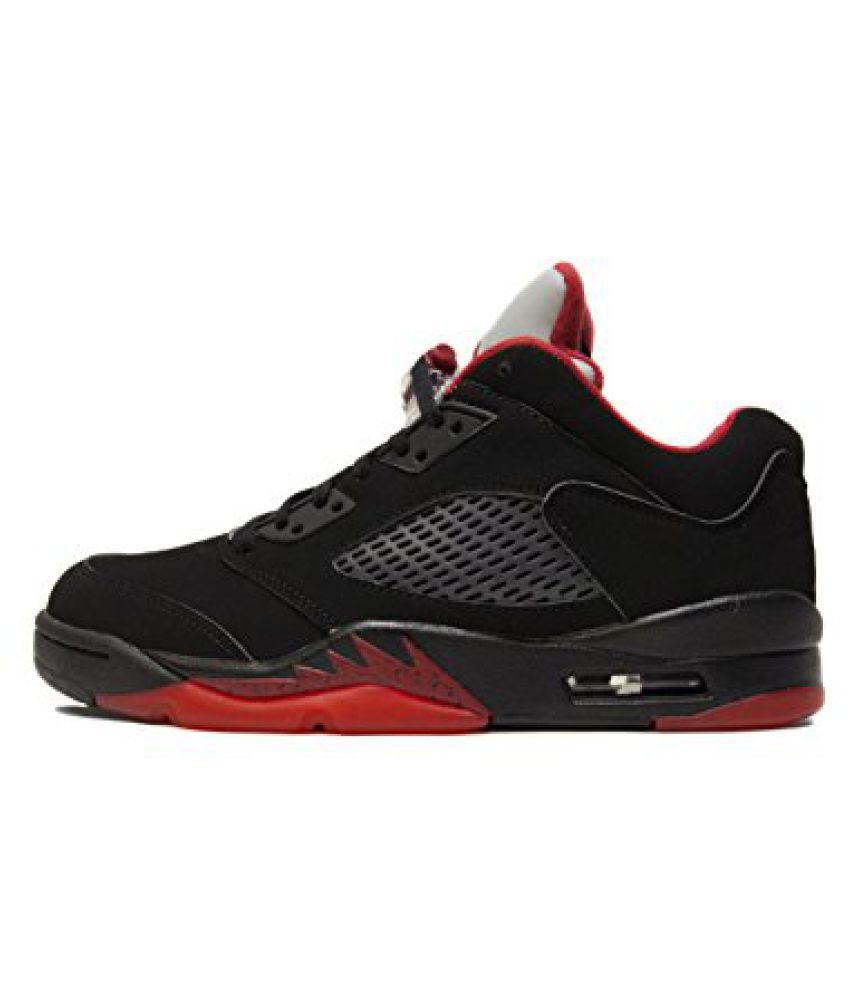 99f22ce7e54a41 Nike Jordan Men s Air Jordan 5 Retro Low Basketball Shoe BLACK GYM RED- ...