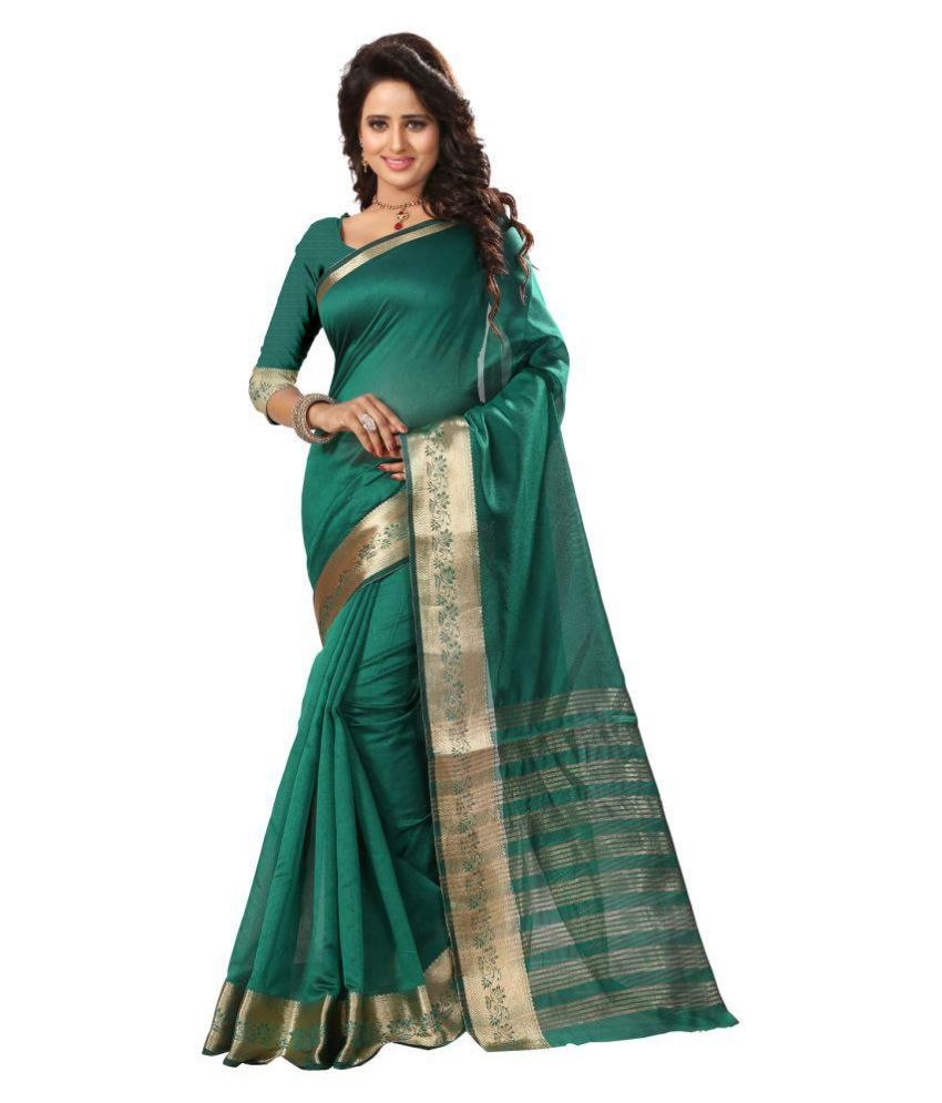 Om Tex Creation Turquoise Art Silk Saree