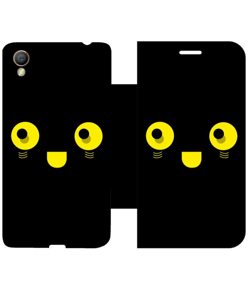 Oppo A37 Flip Cover by Skintice - Black