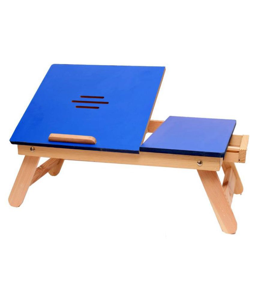 Blue Matte With Drawer Solid Wood Portable Laptop Table  (Finish Color - Blue)