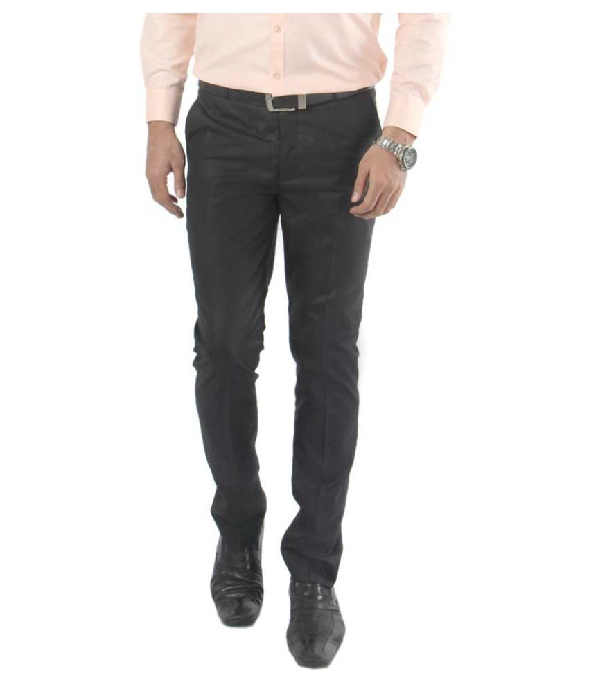 zido Black Regular -Fit Flat Trousers