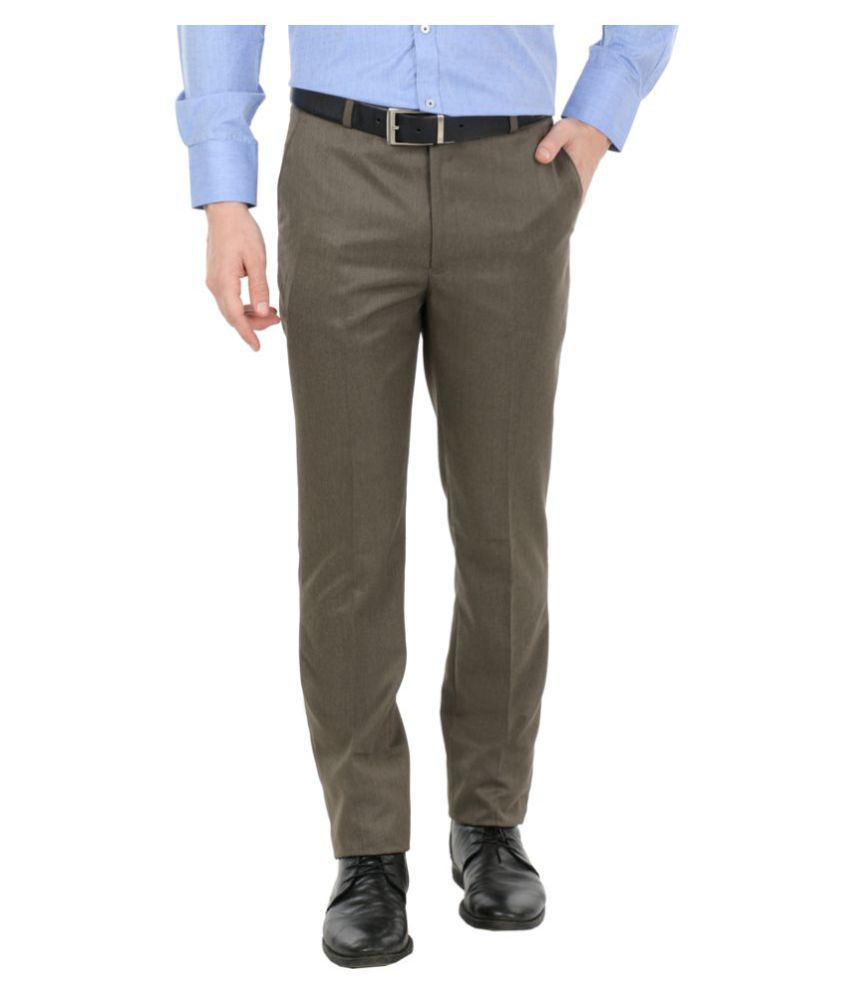zido Brown Regular -Fit Flat Trousers