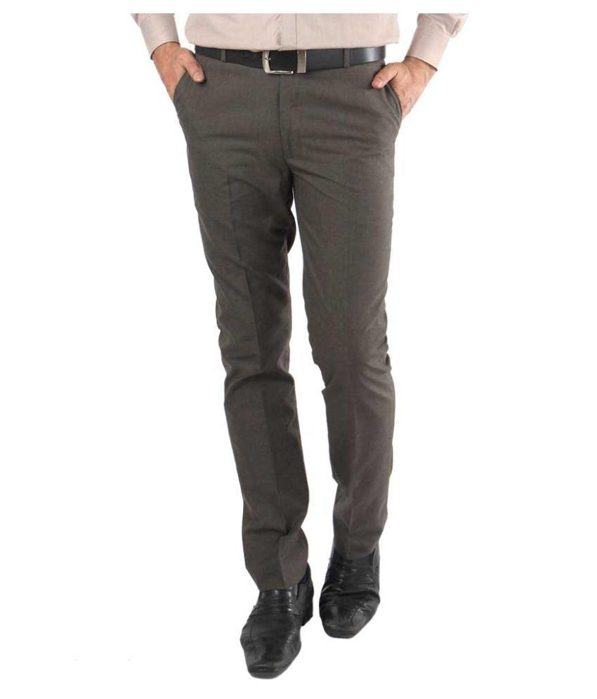 zido Brown Regular -Fit Flat Trousers
