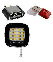 Aravstore© Memory Card Reader, OTG Adapter, Portable Selfie Flash - Mobile Accessories Kit