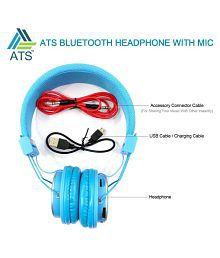 Blue Arrows ATS Bluetooth Headphones Orange On Ear Wireless Headphones With Mic