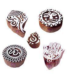 Ethnic Shapes Hamsa And Shell Wood Blocks For Printing (Set Of 5)