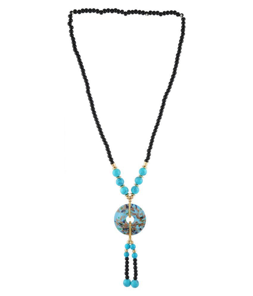 Anuradha Art Sky-Blue Colour Designer Trendy Crystal Long Mala Necklace For Women/Girls