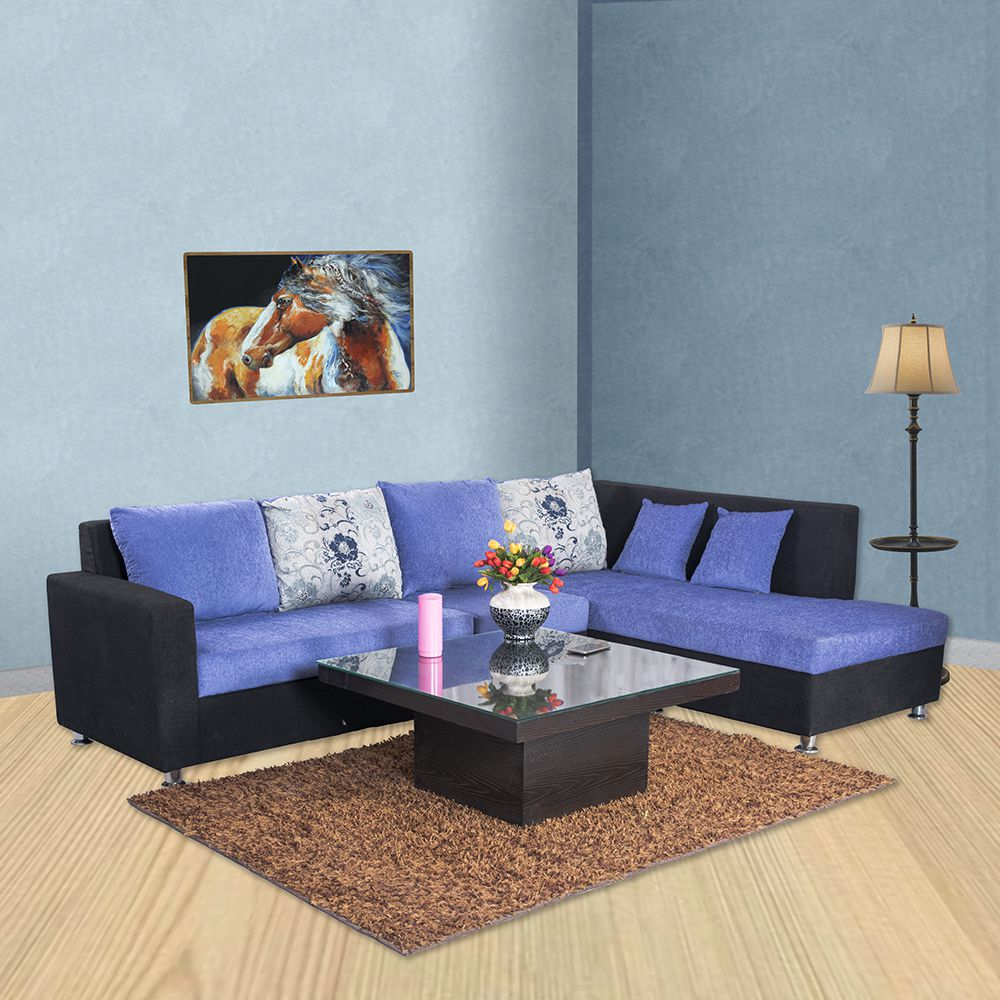Bharat Lifestyle Nano L Shape Light Blue Fabric Sofa Set 2 1 D