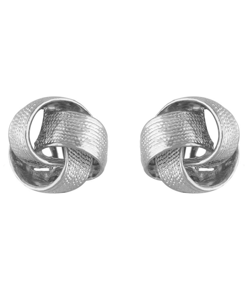 One Stop Fashion Silver Colour Round Shape Ear Clip on Studs  for Girls and Womens