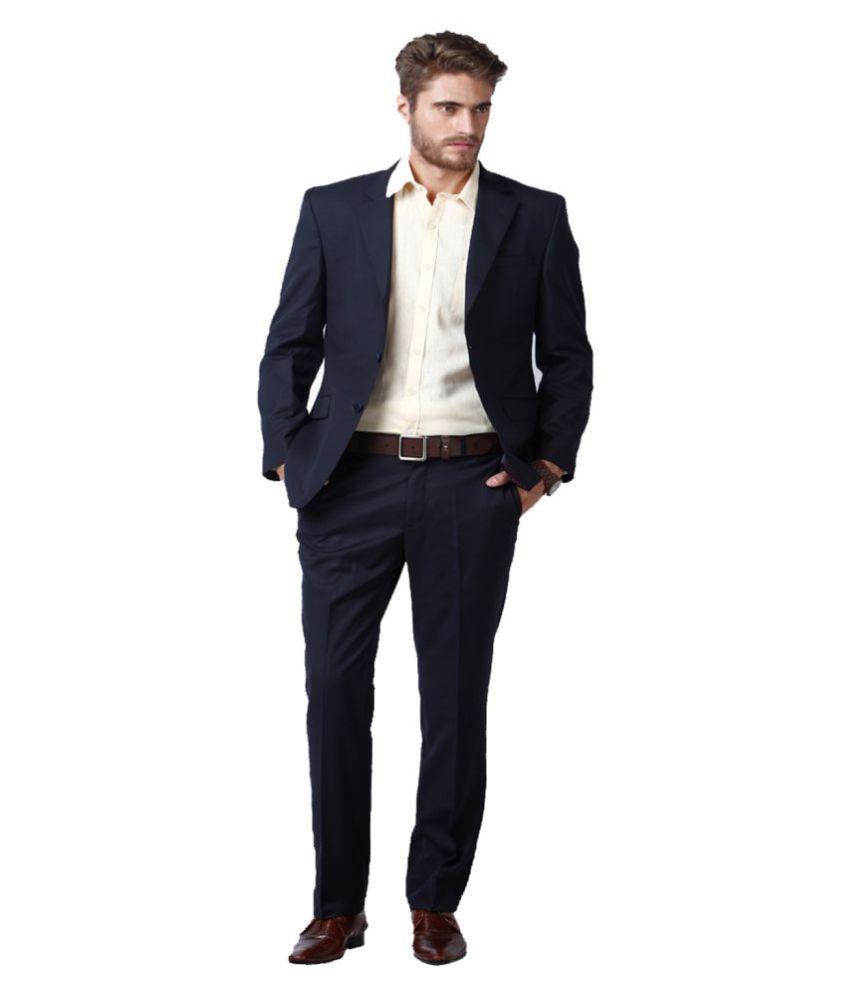 Lee Marc Blue Solid Formal 2 Piece Suits