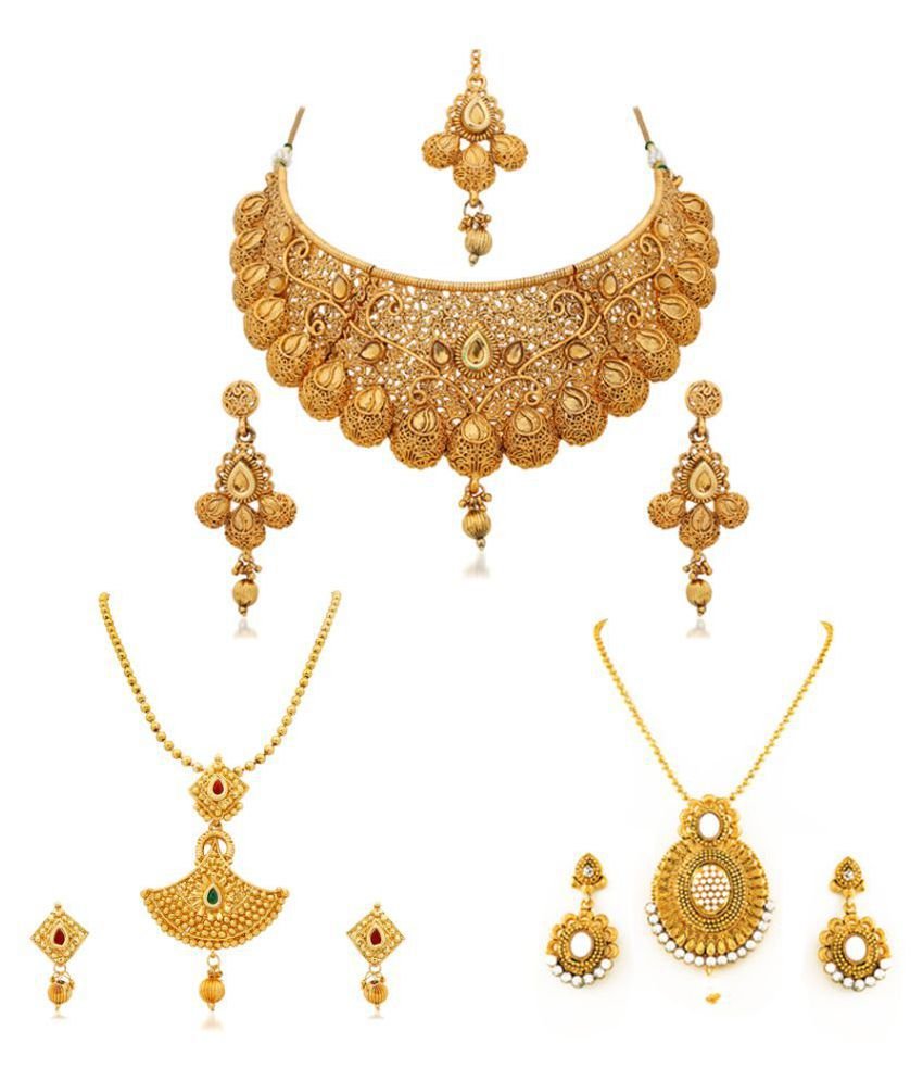RG Fashions Jewellery Golden Necklace Set For Women - Set of 3