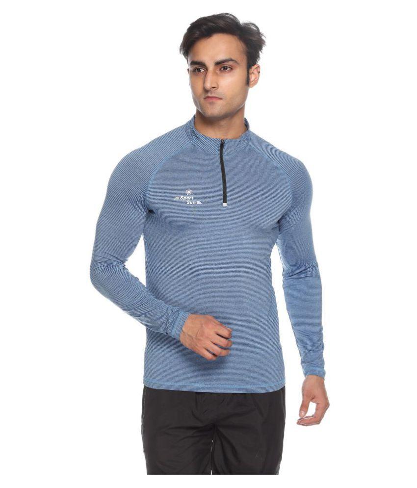 Sport Sun Blue High Neck T-Shirt